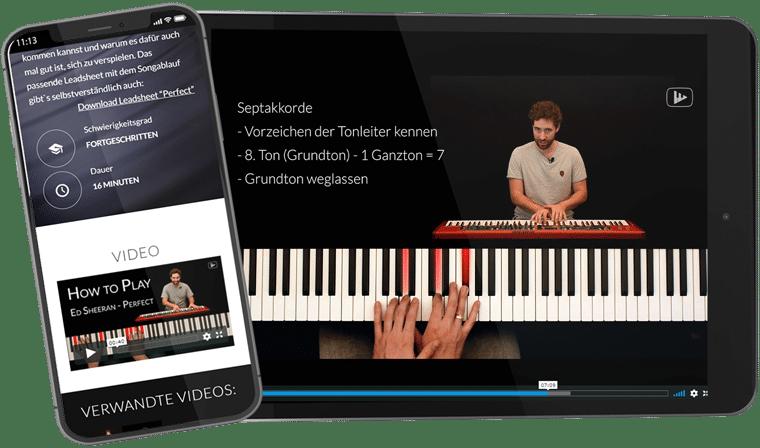 Tablet und Smartphone mit Piano-Revolution Homepage und Video auf Bildschirm